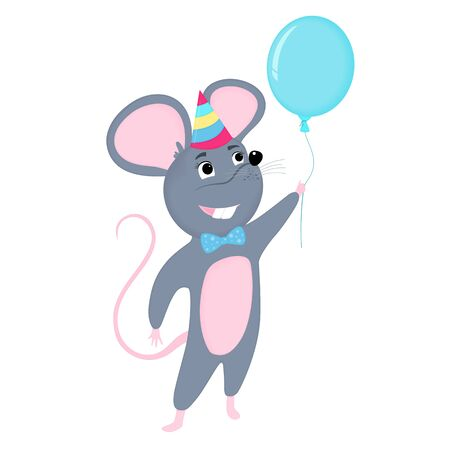 Cartoon mouse in party hat holds balloon. Funny rat. Mice. Symbol of Chinese New Year 2020. Фото со стока - 135931130