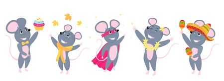 A set of mice. Little mouse. Rats in sombrero with maracas, in a scarf. Superhero