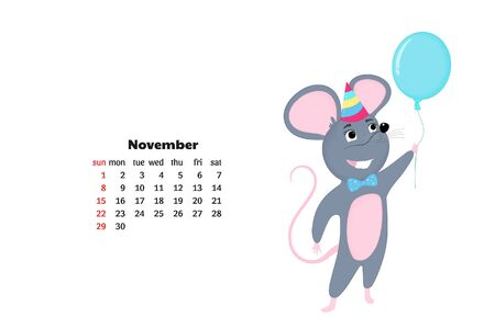 Cartoon mouse. Funny rat. Mice. Symbol of Chinese New Year 2020. Monthly calendar