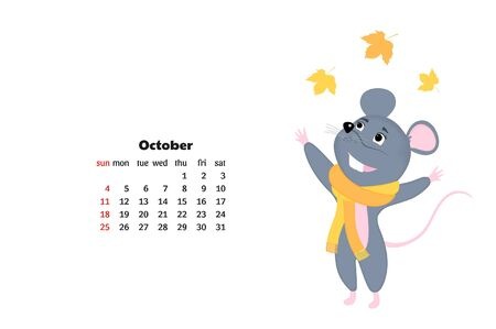 Cartoon mouse. Funny rat. Mice. Symbol of Chinese New Year 2020. Monthly calendar Фото со стока - 135931145