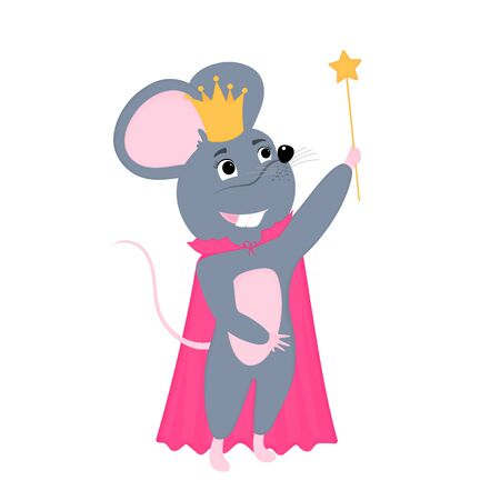 Cartoon mouse in golden crown. Funny rat. Mice. Symbol of Chinese New Year 2020. Çizim