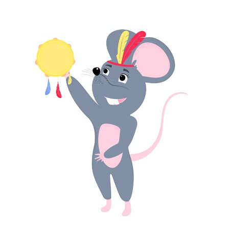 Cartoon mouse. Funny rat. Mice. Symbol of Chinese New Year 2020. Çizim