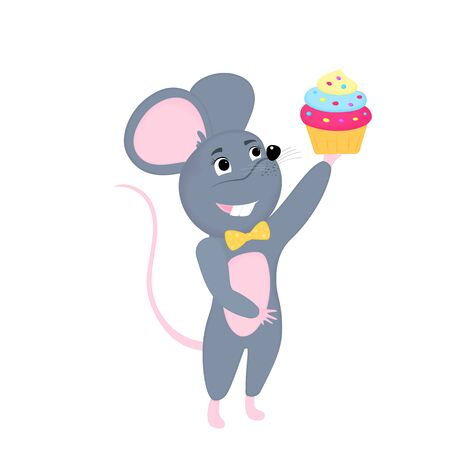 Cartoon mouse holds Birthday cake. Funny rat. Mice. Symbol of Chinese New Year 2020.