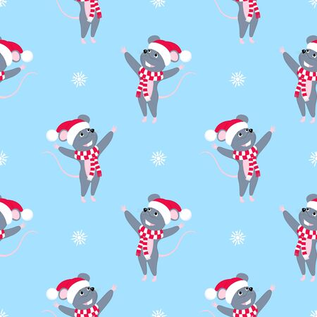 Rat is a symbol of Chinese New Year 2020. Funny cartoon mouse in the hat of Santa Claus and scarf. Cute smiling mice. Merry Christmas seamless pattern. Иллюстрация