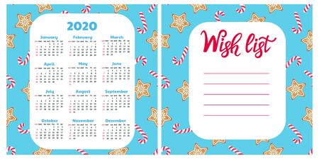Gingerbread Cookie and lollypop. Wish list. Wall calendar for 2020. Christmas background. Фото со стока - 134968656