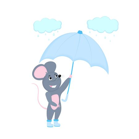 Cartoon mouse with umbrella. Funny rat. Mice. Symbol of Chinese New Year 2020.