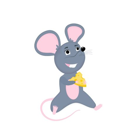 Cartoon mouse with cheese. Funny rat. Mice. Symbol of Chinese New Year 2020. Фото со стока - 135931514
