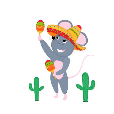 Cartoon mouse in sombrero with maracas. Funny rat. Mice. Symbol of Chinese New Year 2020.