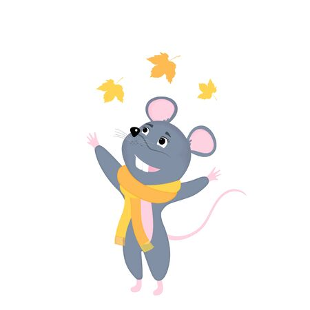 Cartoon mouse in a scarf throws up yellowed leaves. Funny rat. Mice. Symbol of Chinese New Year 2020. Иллюстрация