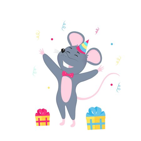 Rat celebrate Birthday. Funny Mouse with box of gift. Symbol of Chinese New Year 2020.