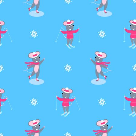 A set of mice. Little mouse. Rats. Winter fun. Skiing, ice skating. Symbol of Chinese New Year 2020. Christmas seamless pattern