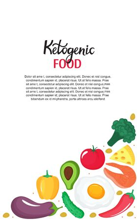 Ketogenic food vertical banner. Keto diet low carb and protein, high fat. Healthy nutrition.