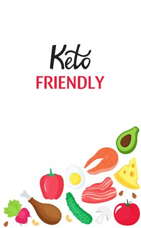 Keto friendly vertical banner with healthy food. Ketogenic diet low carb and protein, high fat Çizim