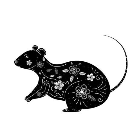 Silhouette of rat with floral patterns.
