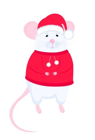 White Rat in Santa hat and red sweater. Иллюстрация