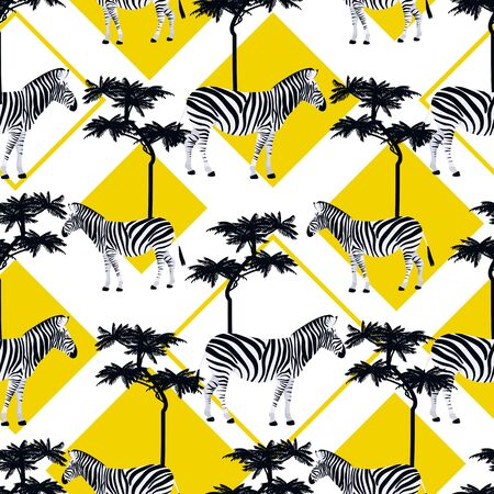 Zebra in the wild seamless pattern. Animal texture black and white. Jungle exotic background. Geometric safari textile. Fashion design Çizim