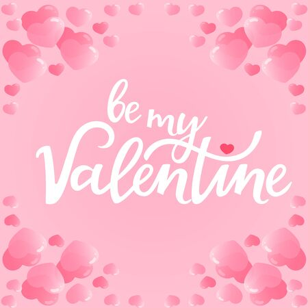 Be my Valentine hand drawn lettering. Greeting card with hearts Çizim