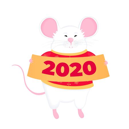 Happy Chinese New Year of the rat 2020. White mouse holding a sign