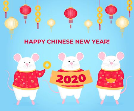 Chinese New Year of the rat 2020. White mouse holding a golden ingot. Mice with money. Design of poster, banner for Spring Festival in China with lanterns