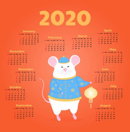 Year of the rat. White mouse holding a Chinese lantern. Calendar for 2020. Week start on Sunday.