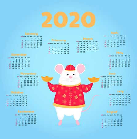 Year of the rat. White mouse holding a a golden ingot. Happy Chinese New Year. Calendar for 2020. Week start on Sunday. Çizim
