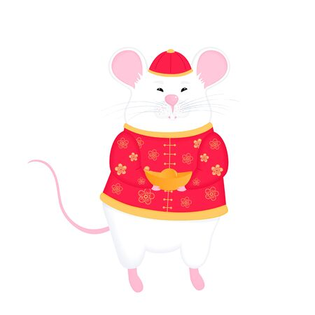 Happy Chinese New Year of the rat 2020. White mouse holding a golden ingot isolated on white background.