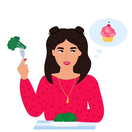 A young girl holds a fork with broccoli in her hand and dreams of a cake. Healthy food versus unhealthy concept. Woman vegetarian with a plate of green vegetable salad. Trendy character