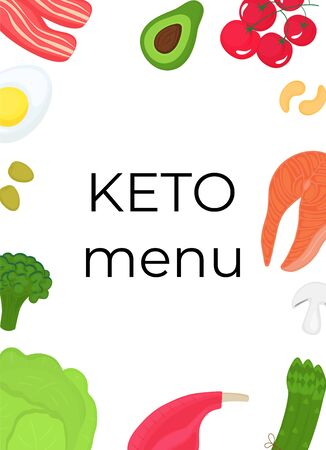 Keto food vertical banner. Ketogenic diet concept. Healthy menu. Low carb, high fat