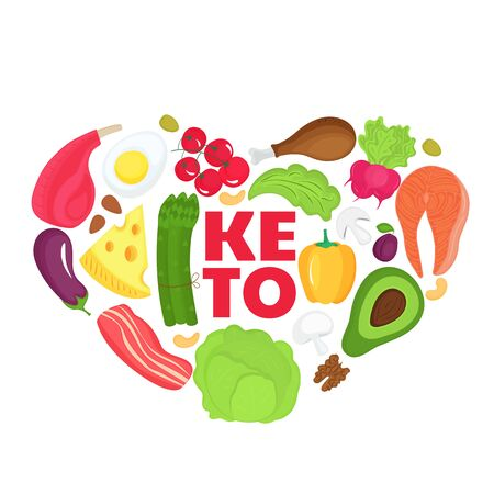 Keto banner from food heart shaped. Ketogenic diet concept. Healthy menu. Low carb, high fat Çizim