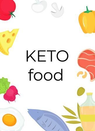 Keto food vertical banner. Ketogenic diet concept. Low carb, high fat Archivio Fotografico - 138113991