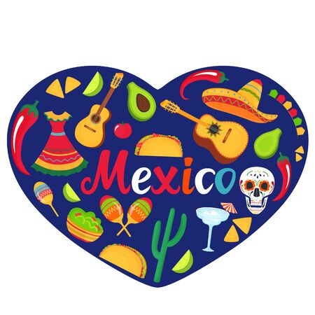 Mexico banner. Sombrero, guitar, sugar skull, cactus, guacamole, tacos. Decorations for national Mexican celebrations. Cinco de Mayo. Day of the Dead.