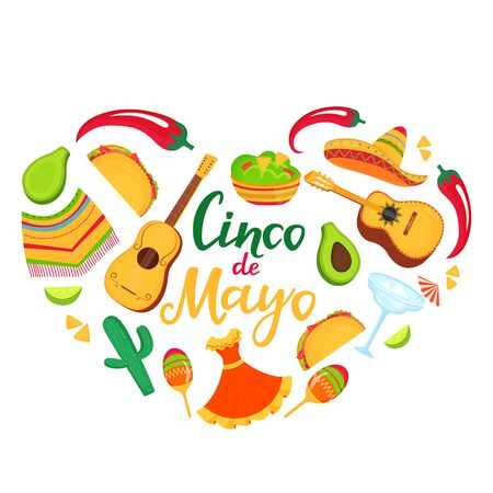 Cinco de Mayo banner. Sombrero, guitar, poncho, cactus, guacamole and tacos. Decorations for national Mexican celebrations Çizim