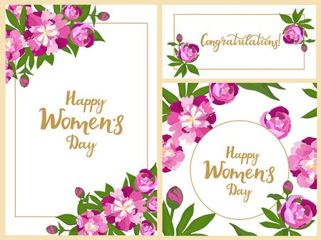 Happy Womens Day set of greeting cards. Vertical, horizontal and square posters or banner design with peonies. Flowers in bloom. Floral frame Çizim