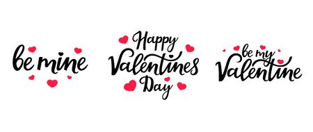 Happy Valentines day. Set of hand drawn lettering for design of greeting cards, posters, invitations