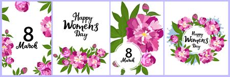 Happy Womens Day set of greeting cards. 8 March posters or banner design with peonies. Flowers in bloom. Floral frame. Çizim