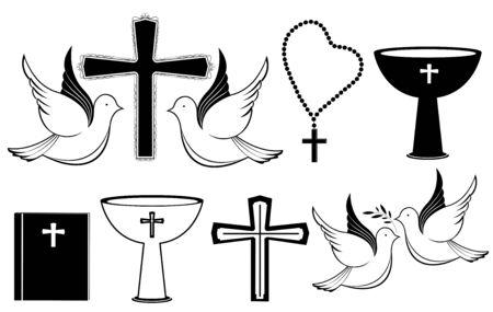 Satz christlicher schwarz-weißer Symbole für Taufe, Auferstehung, Ostern. Vektorgrafik