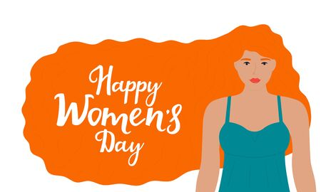 Young girl with red hair. Happy Womens Day congratulatory banner