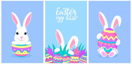 Happy Easter. A set of greeting designs with bunnies and painted eggs