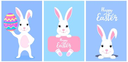 Set of funny white Easter bunnies.