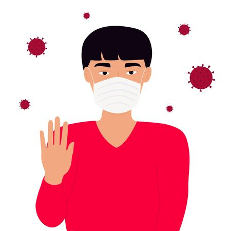 Chinese man in white medical face mask shows a stop gesture. Çizim