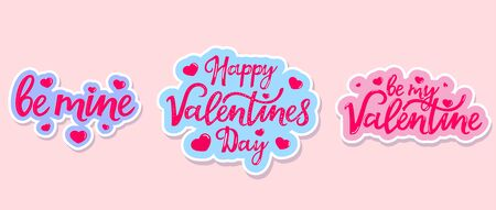 Happy Valentines day. Set of hand drawn lettering stickers Çizim