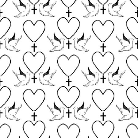 Pigeons and prayer beads. Biblical symbols. Easter seamless pattern