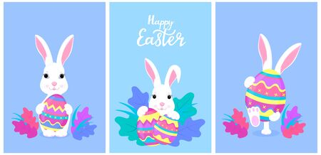 Happy Easter. A set of greeting designs with bunnies and painted eggs. White rabbit cartoon character Çizim