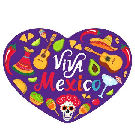 Viva Mexico banner. Sombrero, guitar, sugar skull, cactus, guacamole, tacos. Decorations for national Mexican celebrations. Cinco de Mayo. Day of the Dead. Иллюстрация