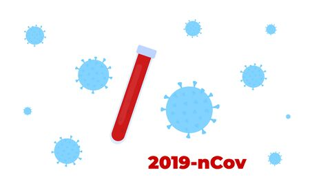 Novel virus 2019-nCoV. Vaccine ampoule. Horizontal background. Concept of quarantine, prevent infection Ilustração