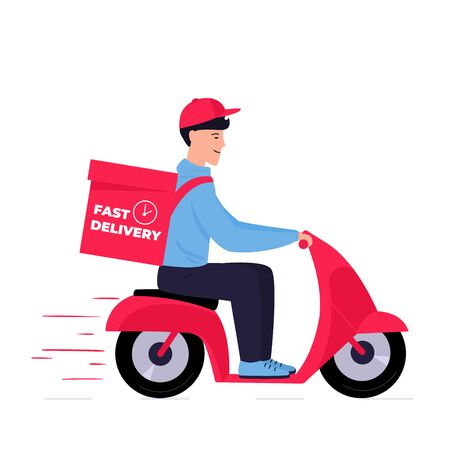 Fast shipping. A young guy delivers packages on a red scooter. Online food