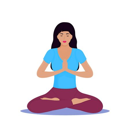 A young white woman with long dark hair sits in the lotus position. Yoga Stock Illustratie