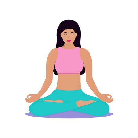 A young girl sits in a lotus position. Woman is doing yoga. Chin Mudra.