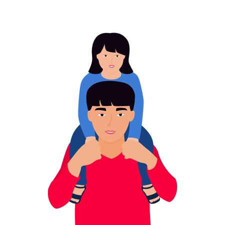 A Chinese man holds a girl on his shoulders.