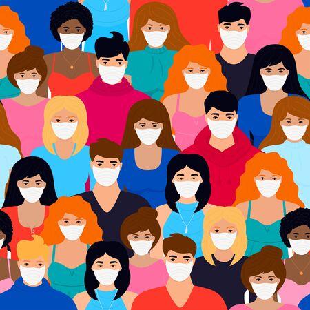 Group of people in white protective masks seamless pattern. Vektorové ilustrace
